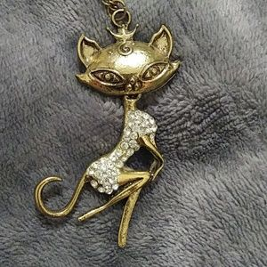 BUNDLE 2/20$ Antique-ish gold kitty cat necklace